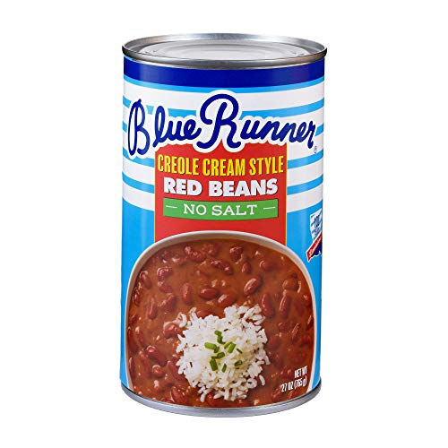 Cajun Small Red Beans - Blue Runner-Creole Cream Style Red Beans-27 oz Can (Pack of 12)-No Salt Added-Slow Cooked and Authentically Creole Kidney Beans