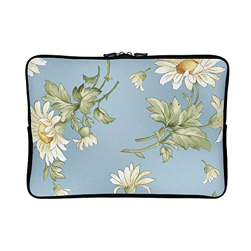 (DKISEE Abstract Tossed Daisies Neoprene Laptop Sleeve Case Waterproof Sleeve Case Cover Bag for MacBook/Notebook/Ultrabook/Chromebooks)