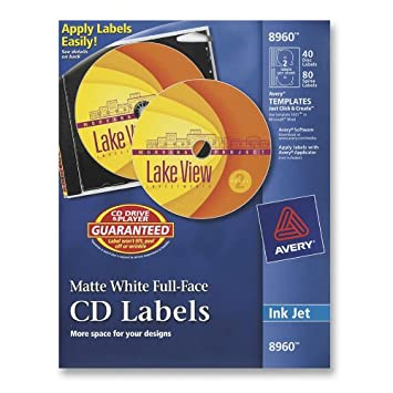 Amazon.com : Avery CD Labels, White Matte, 40 CD Labels and 80 ...
