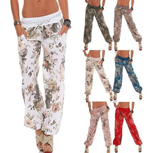 Fiore Yoga Stampa Harem Aladdin Blu di Pallone Pantaloni con Della Pantaloni Donne Tessuto Cintura Harem Estivi Bloomers in dPqOwxX