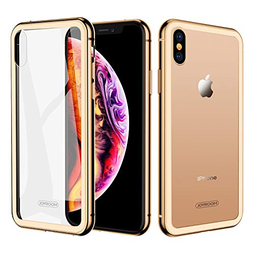 JOYROOM Crystal Clear Glass Case for iPhone Xs/iPhone X, Hard Slim Thin Metal Bumper with Soft TPU Inner Frame Case, Anti-Scratch 9H Glass Back Cover for iPhone 5.8 inch (Gold)