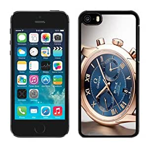 NEW Unique Custom Designed iPhone 5C Phone Case With Omega De Ville Swiss Gold Watch_Black Phone Case