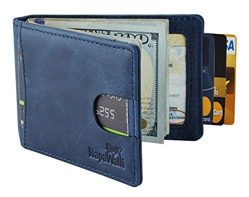 (NapaWalli RFID Blocking Bifold Slim Genuine Leather Thin Minimalist Front Pocket Wallets for Men Money Clip (vintage deep blue))