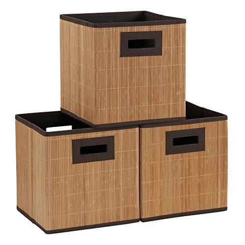 Wicker Storage Cubes - Household Essentials 3 Pack Premium Fabric Wicker Bin, Brown