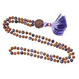 Buddhist Zen Yoga Mala Rudraksha AMETHYST Necklace Spiritual Beads Jewelry