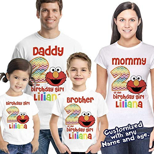 (Elmo Birthday shirt, Elmo shirt, Elmo Girl birthday shirt, Girl Birthday shirt, elmo party, personalized elmo birthday)
