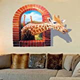 Blazers 18 Wall Decal 3d Cartoon Giraffe Removable Mural Wall Stickers for Kids Children Home and Wall Decor