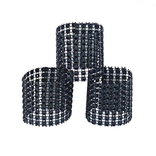USFEEL 50Pcs Napkin Rings Rhinestone Bow Covers Chair Sash Holders with Velcro For Wedding Parties - Plastic Rhinestone Black