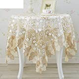 European-style lace tablecloth round table cloth coffee table cloth Embroidered tablecloths TV cover towel bedside table cover-A 40x120cm(16x47inch)