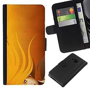 All Phone Most Case / Oferta Especial Cáscara Funda de cuero Monedero Cubierta de proteccion Caso / Wallet Case for HTC One M7 // Yellow Lady Hair Woman Painting Classy
