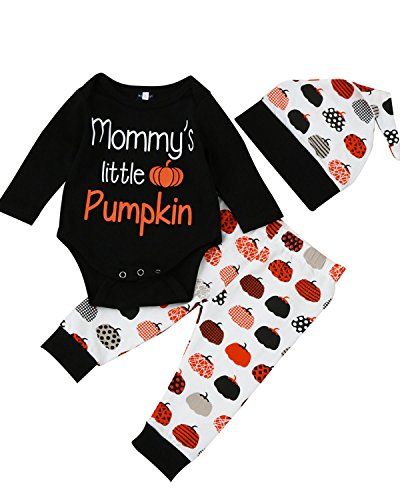 Baby Holloween Costumes (Kidsform Baby Boys Girls Holloween Pumpkin Costume Soft Long Sleeve Pants Hat Outfits 3pcs A A80)