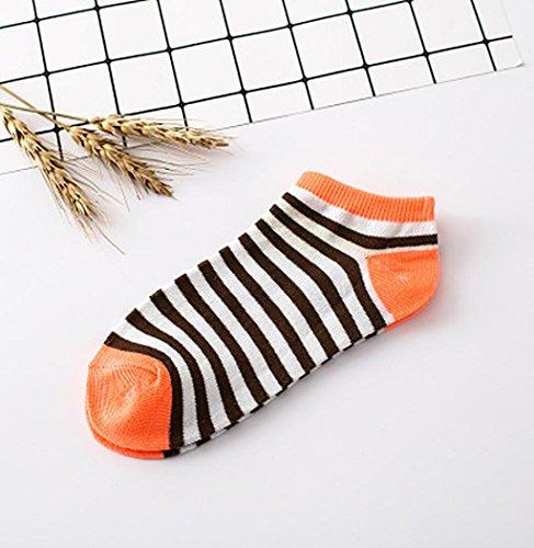 1pair Kvinner Sokker, Sagton Kvinner Stripe Bomull Sokker Korte Mannskap Sokker Ankel Sokker Oransje