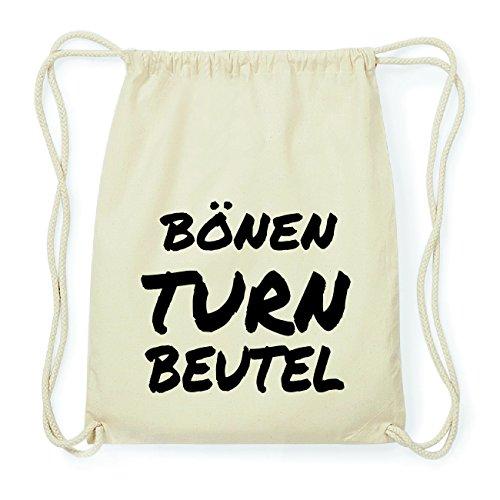 JOllify BÖNEN Hipster Turnbeutel Tasche Rucksack aus Baumwolle - Farbe: natur Design: Turnbeutel