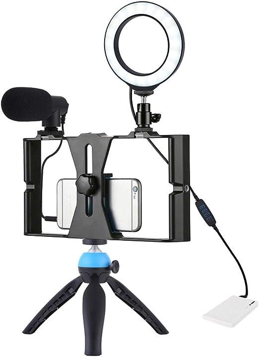 Alan Smartphone Video Rig con Trípode, Aro de Luz de 4.7 Pulgadas ...