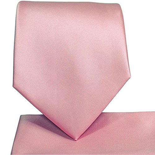 KissTies Rosy Pink Tie Satin Necktie Wedding Ties + Pocket Square + Gift Box
