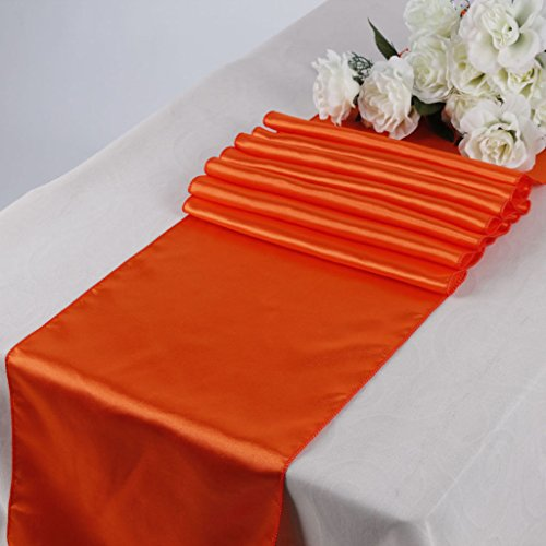 MDS Pack Of 5 Wedding 12 x 108 inch Satin Table Runner Wedding Banquet Decoration- Orange (Orange Table Runner compare prices)