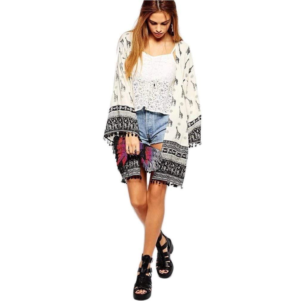 HUAIX Home Kimono-Cardigan-Bluse mit Giraffe-Print M