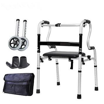 Silla de paseo para personas mayores / para personas con movilidad reducida Barra para caminar / de cuatro patas / plegable / con ruedas , silvery: ...