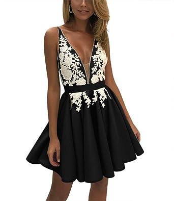 ad7fed09e3b7ef liangjinsmkj Women's V Neck Applique Satin Homecoming Dresses Short Evening  Party Gown Ruched Skirt Black US2