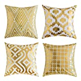 Decorative Pillow Cover - Miulee Pack of 4, Gold Stamping Soft Soild Decorative Square Throw Pillow Covers Set Cushion Case for Sofa Bedroom Car 18 x 18 Inch 45 x 45 Cm