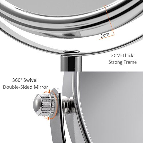 Exterior: Two-sided Vanity Mirror Tabletop Swivel Makeup Mirror 1x