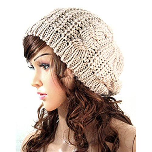 EVERMARKET Knitted Crochet Slouch Baggy Beret Beanie Hat Cream-colored