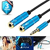 Headset Adapter Y Splitter 3.5mm Jack Cable with Separate Mic and Audio Headphone Connector Mutual Convertors for Gaming Headset, PS4, Xbox One, Notebook, Mobile Phone and Tablet 30CM/12 Inch
