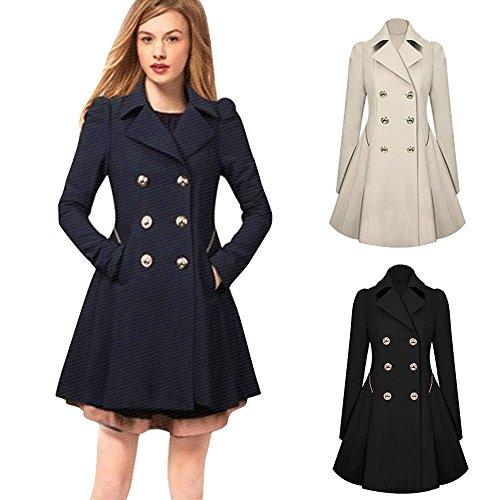 Trench Long Coats Coat Elegant Warm NEEDRA Neck Winter Jacket Lapel Black Breasted Parka Outwear Double Women Ladies vBxqFA5EwU