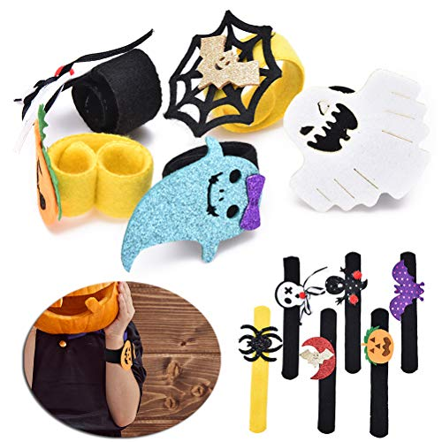 JUNKE 12-Pack Halloween Slap Bracelets Pumpkin Ghost Spider Bat Designed Snap Bracelets Wristbands Novelty Happy Halloween Toys Supplies Party Favors for Kids Boys Girls Goody Bag Fillers Gifts -