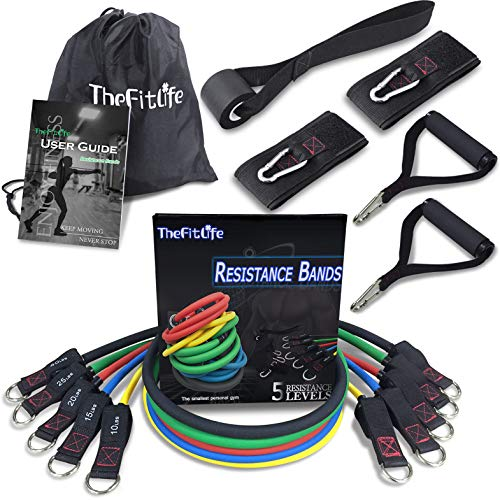 TheFitLife Exercise and Workout Resistance Bands - Training Tube Set Stackable up to 110 lbs for Indoor and Outdoor Sports, Fitness, Speed Strength, Baseball Softball, Home Gym, Yoga