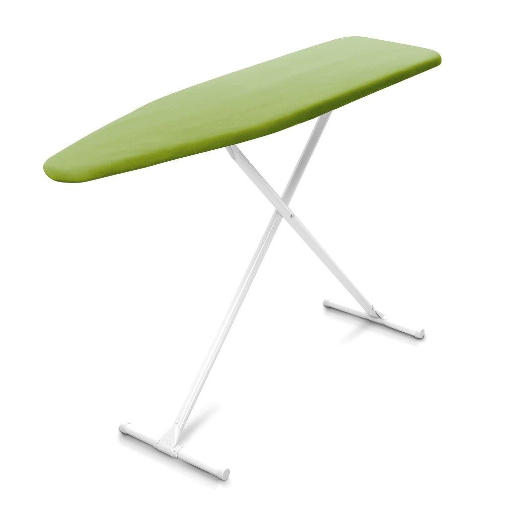 HOMZ T-Leg Adjustable Height Foam Pad Ironing Board with Cotton Cover, Green Cover