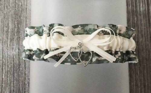 Digital Camouflage Ivory Satin Wedding Keepsake Camo Bridal Garter - Double Heart Charm -