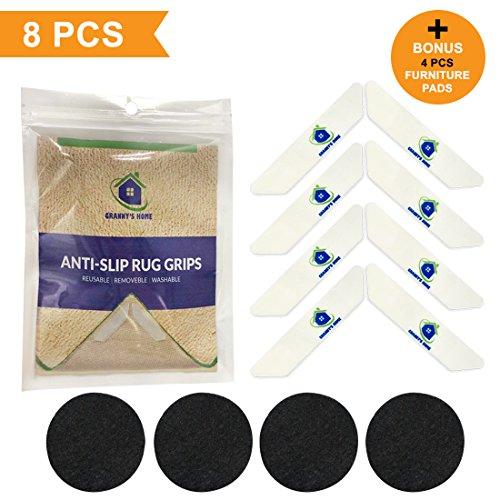 NaturalAreaRug Grippers Carpet - Rubber Anti-Skid Pad .Stop Slipping Rug,Keeps Your Rug in Place & Makes Corners Flat, Waterproof (8PCS)