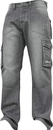 gawaga メンズ ウォッシュカーゴ ポケットジーンズ ワークウェア ストレッチリー ルーズ デニム パンツ