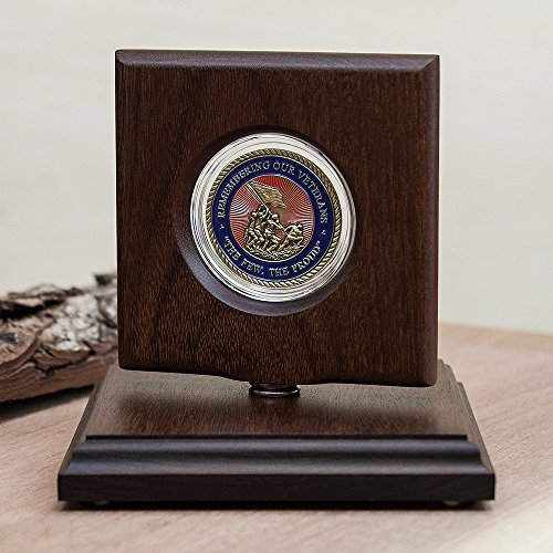 Challenge Coin Rotating Display Case - Natural Ipe Wood - For 45mm (1.75
