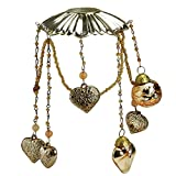 CC Christmas Decor 6.5'' Antique Gold Glass Bobeche Candle Ring with Hanging Heart Charms