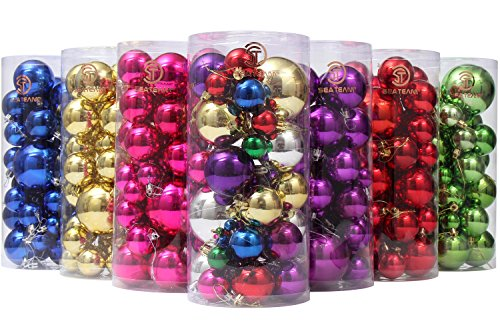 Sea Team Classic Various Sizes Barrel Plating Glaze Finish Solid Color Christmas Balls Ornaments Set Multicolor-choice Festive Hanging Ornaments in Size of 1.57, 2.36 & 3.15, 36-Pack Multicolored