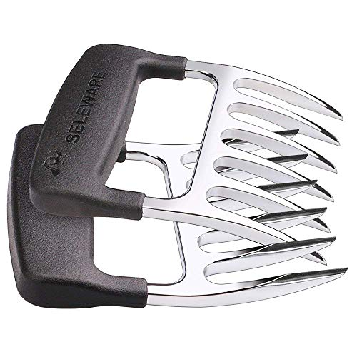 [ 2-Pieces] Seleware Innovative Meat Claws, BBQ Meat Forks, Pulled Pork Shredder Claws for Lift, Handle, Shred, and Cut Meats, Ultra-Sharp Blades BPA Free Barbecue Paws