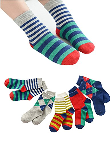Kids Contrast Color Striped Argyle Diamond Lattice Crew Cotton socks Non Skid Thick for 3t 5t-8t Boys and Girls 5/10 Pairs Pack (13-15 years old, As (Air Max Halloween Pack)