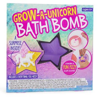 Create a Fizzy Bath Bomb. Grow-A-Unicorn. A Surprise Inside.