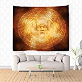 Nalahome Horror House Decor Demon Trap Symbol Logo Ceremony Creepy Ritual Fantasy Paranormal Design Orange Ethnic Decorative Tapestry Blanket Wall Art Design Handicrafts 59W x 51.1L Inches