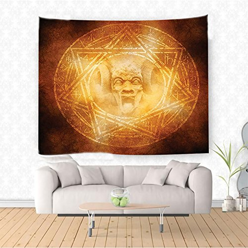 Nalahome Horror House Decor Demon Trap Symbol Logo Ceremony Creepy Ritual Fantasy Paranormal Design Orange Ethnic Decorative Tapestry Blanket Wall Art Design Handicrafts 59W x 51.1L Inches by Nalahome
