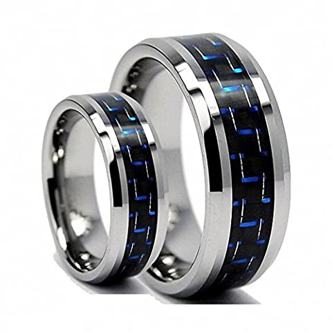 His & Her's 8MM/6MM Tungsten Carbide Wedding Band Ring Set With Blue Carbon Fiber Inlay - Ladies Size 5 - Mens Size 8.5