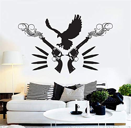- Kezhie Wall Stickers Quotes Vinyl Art Room Mural Posters Eagle Revolver Gun Cowboy Wild West