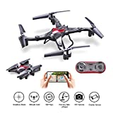 Foldable Drone with Camera Live Video WIFI FPV Quadcopter 2.4Ghz 6-Axis Gyro 720P HD Camera Altitude Hold Headless Gravity Sensor One Key Take Off & Land Easy Fly for Beginners, Bonus Battery