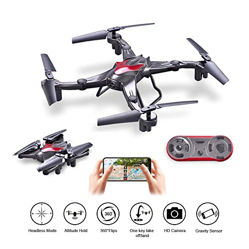 Foldable Drone with Camera Live Video WIFI FPV Quadcopter 2.4Ghz 6-Axis Gyro 720P HD Camera Altitude Hold Headless Gravity Sensor One Key Take Off & Land Easy Fly for Beginners, Bonus Battery by Wineshine