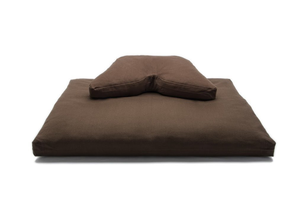 Cosmic Cushion & Deluxe Zabuton Meditation Cushion Yoga Pillow 2 Piece Set (chocolate, buckwheat hull filling)