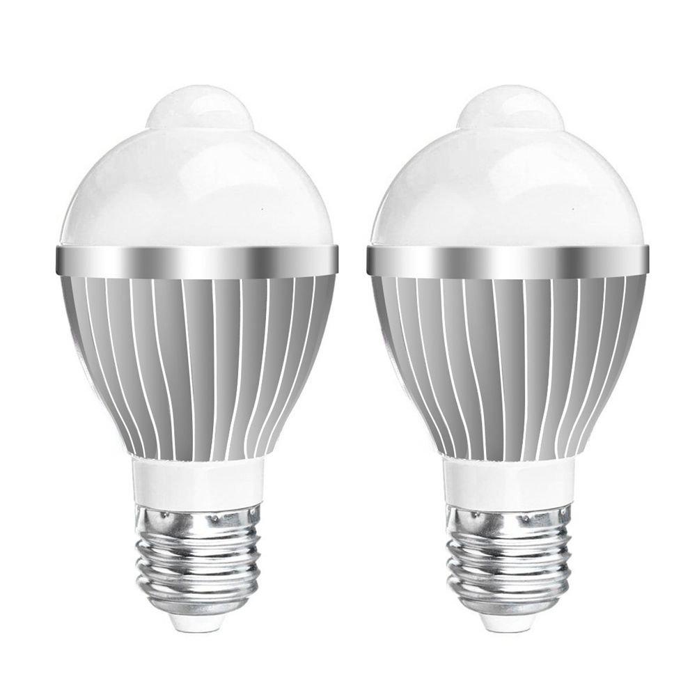 SODIAL(R) 2 x Motion Sensor Light Bulb 5W E27 Infrared Motion Detection LED Bulb 85~265V for Stairs Corridor Basement Hallway Yard Hallway - Warm White