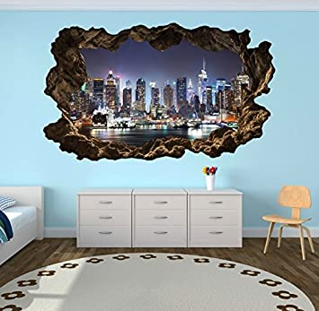 3D Wandtattoo New York Skyline Stadt Wandbild Wandsticker Selbstklebend  Wandmotiv Wohnzimmer Wand Aufkleber 11E610, Wandbild