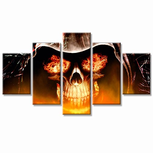 Halloween Day Skull Canvas Wall Art Abstract Black and White Print Home Decor for Living Room Contemporary Pictures 5 Panel Large Poster Decal Painting Framed Ready to Hang (60